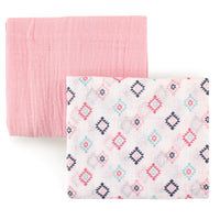 Hudson Baby Cotton Muslin Swaddle Blankets, Pink Aztec