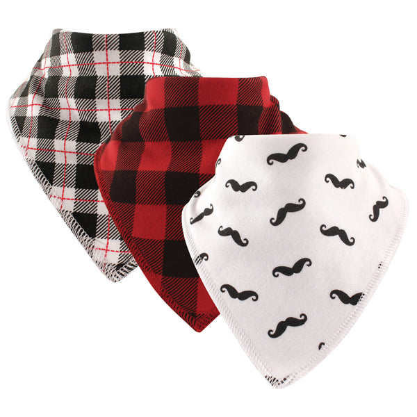 Hudson Baby Cotton Fleece Bandana Bibs, Mustache