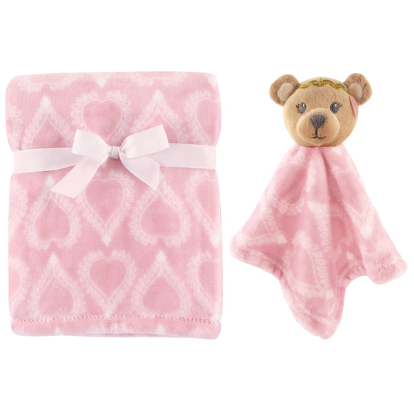 Hudson Baby Plush Blanket with Security Blanket, Boho Bear