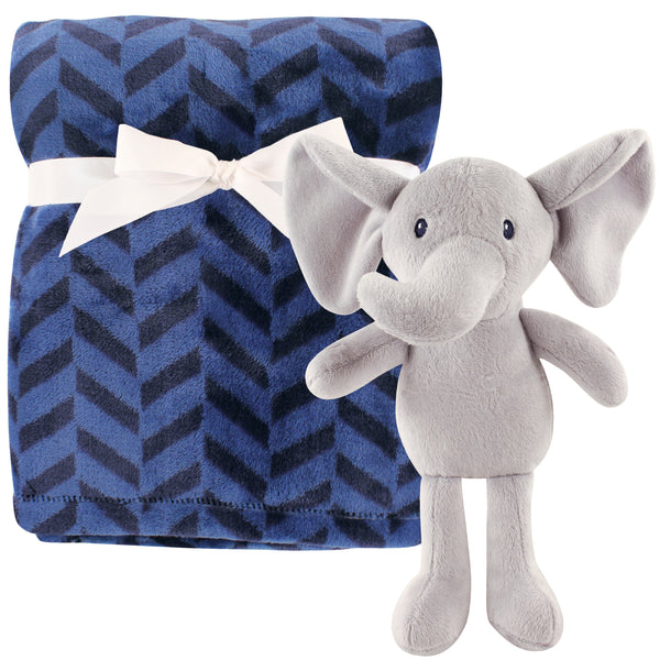 Hudson Baby Plush Blanket with Toy, Boy Elephant
