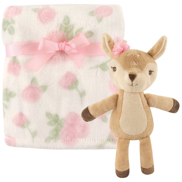 Hudson Baby Plush Blanket with Toy, Fawn