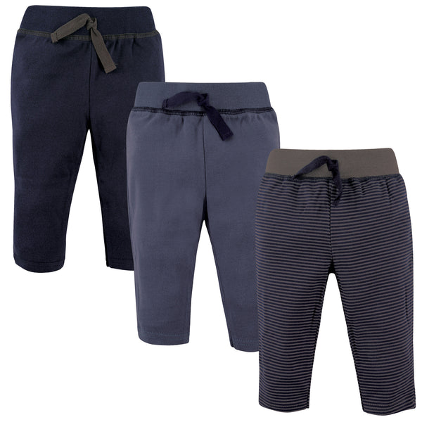 Hudson Baby Cotton Pants and Leggings, Charcoal Stripe