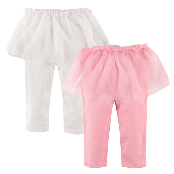 Hudson Baby Cotton Pants and Leggings, Pink White