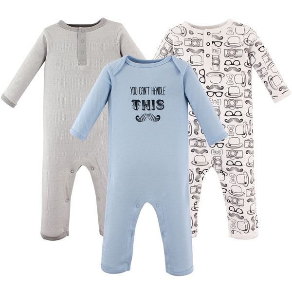 Hudson Baby Cotton Coveralls, Mustache