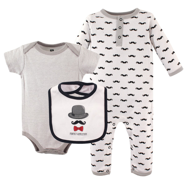 Hudson Baby Cotton Coverall, Bodysuit and Bib Set, Gentlemen