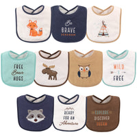 Hudson Baby Cotton Terry Drooler Bibs with Fiber Filling, Raccoon