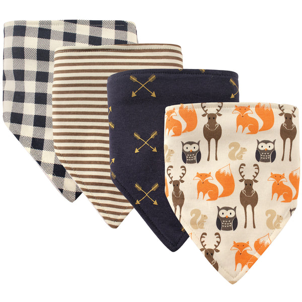 Hudson Baby Cotton Bandana Bibs, Forest