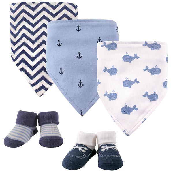 Hudson Baby Cotton Bib and Sock Set, Whale