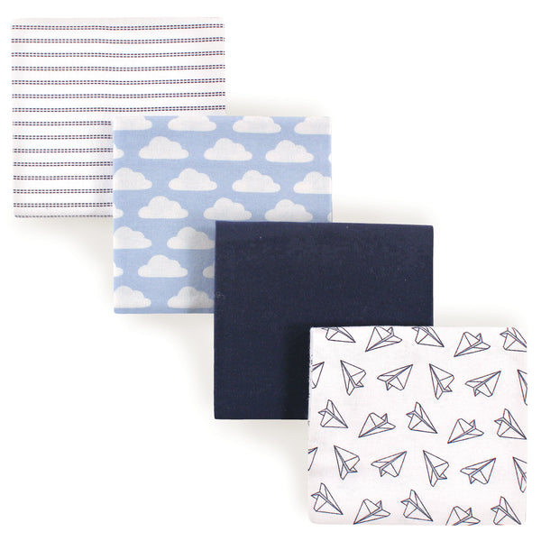 Hudson Baby Cotton Flannel Receiving Blankets, Paper Airplane
