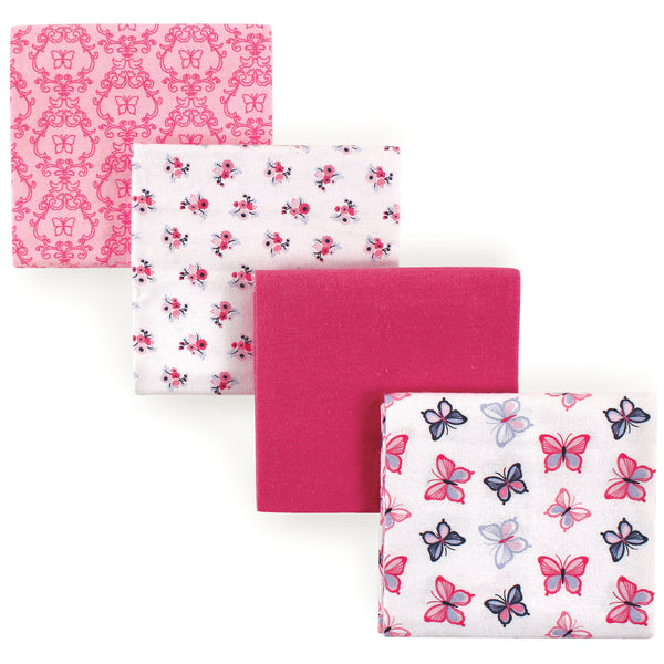 Hudson Baby Cotton Flannel Receiving Blankets, Butterflies