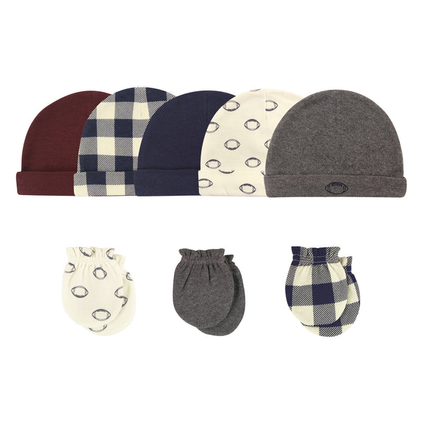 Hudson Baby Cotton Cap and Scratch Mitten Set, Football