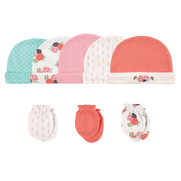Hudson Baby Cotton Cap and Scratch Mitten Set, Floral