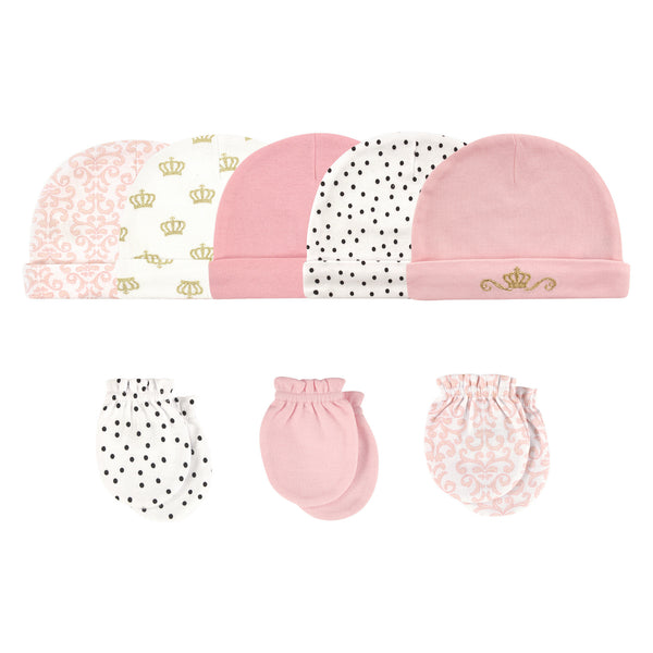 Hudson Baby Cotton Cap and Scratch Mitten Set, Crown