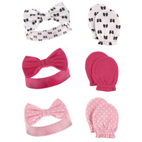 Hudson Baby Cotton Headband and Scratch Mitten Set, Bows