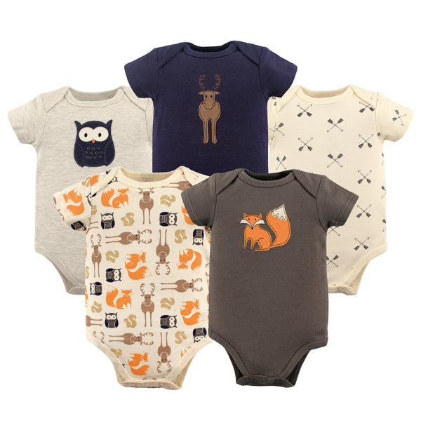 Hudson Baby Cotton Bodysuits, Forest