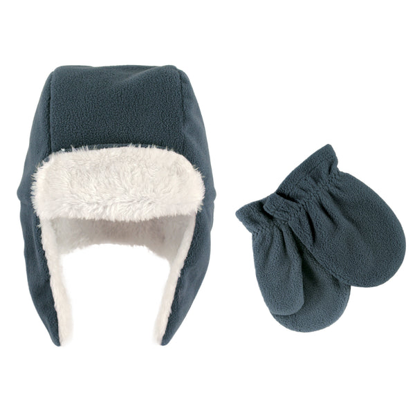 Hudson Baby Fleece Trapper Hat and Mitten Set, Coronet Blue Toddler