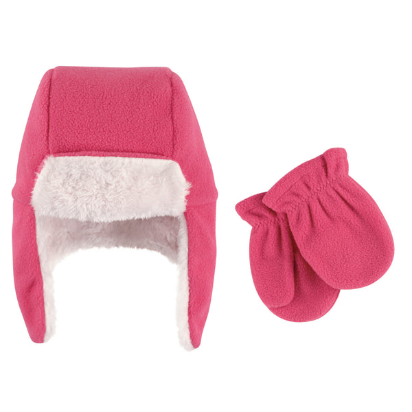 Hudson Baby Fleece Trapper Hat and Mitten Set, Dark Pink Baby