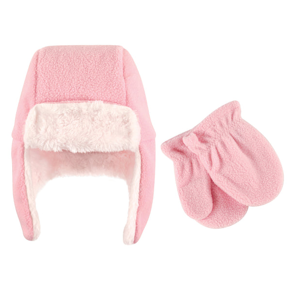 Hudson Baby Fleece Trapper Hat and Mitten Set, Light Pink Baby