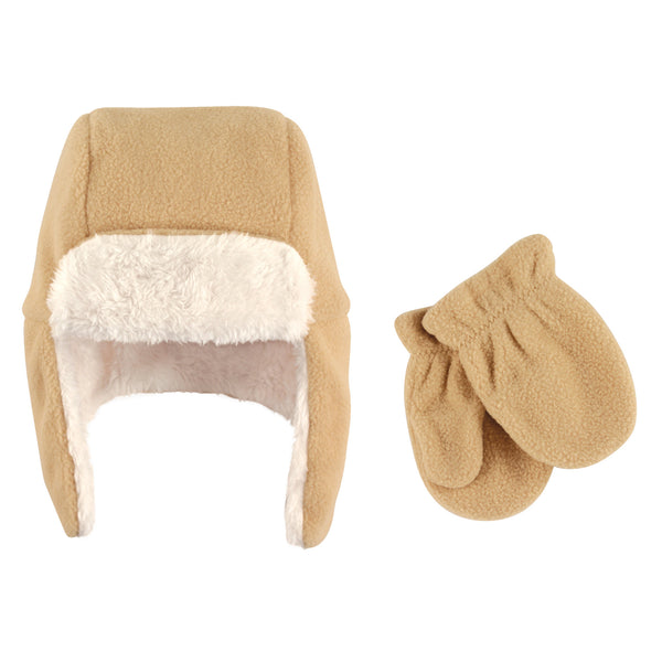 Hudson Baby Fleece Trapper Hat and Mitten Set, Tan Baby