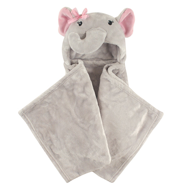 Hudson Baby Hooded Animal Face Plush Blanket, Pretty Elephant