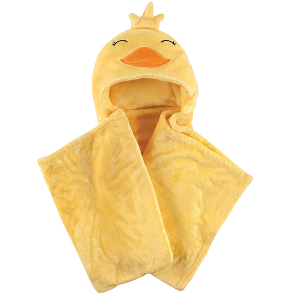 Hudson Baby Hooded Animal Face Plush Blanket, Yellow Duck