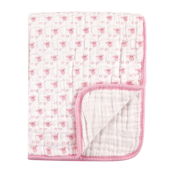 Hudson Baby Muslin Tranquility Quilt Blanket, Pink Sheep