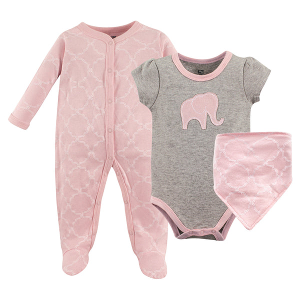 Hudson Baby Cotton Sleep and Play, Bodysuit and Bandana Bib Set, Elephant