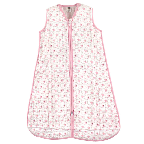 Hudson Baby Muslin Cotton Sleeveless Wearable Sleeping Bag, Sack, Blanket, Pink Sheep
