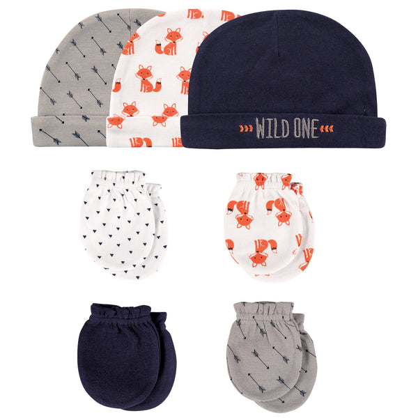 Hudson Baby Cotton Cap and Scratch Mitten Set, Foxes