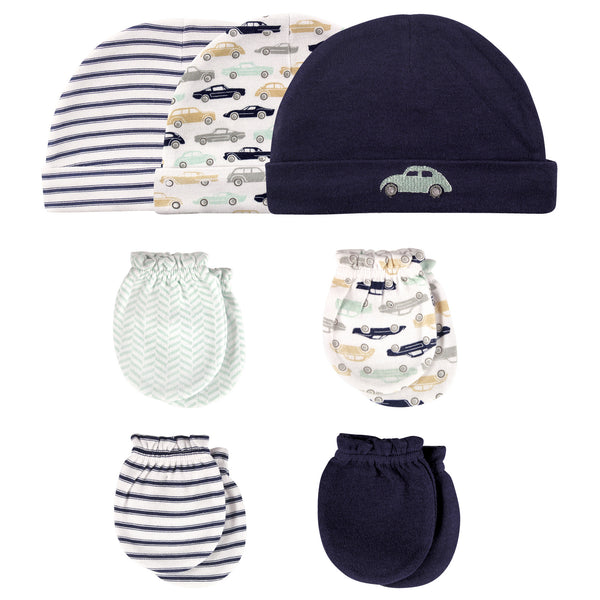 Hudson Baby Cotton Cap and Scratch Mitten Set, Classic Car