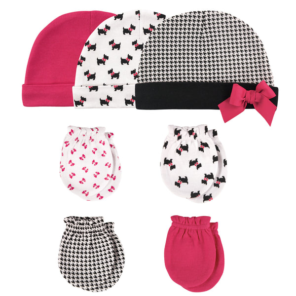 Hudson Baby Cotton Cap and Scratch Mitten Set, Scottie Dog