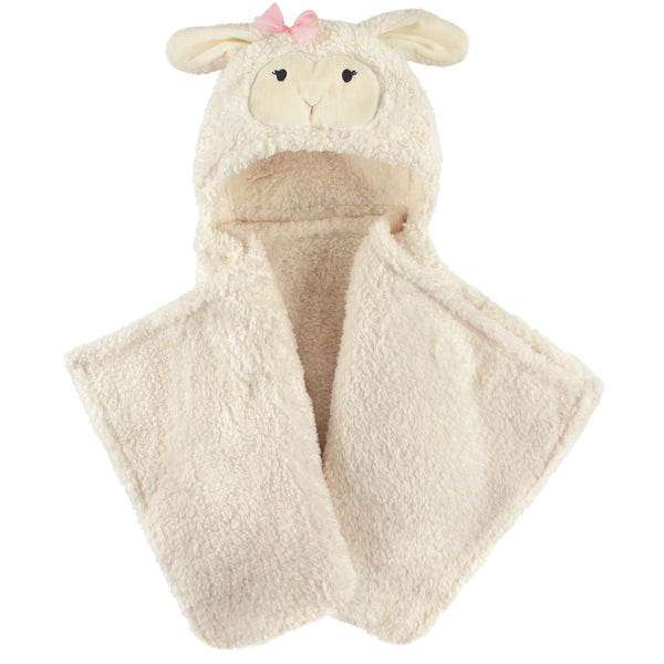 Hudson Baby Hooded Animal Face Plush Blanket, Girl Lamb