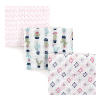 Hudson Baby Cotton Muslin Swaddle Blankets, Girl Cactus