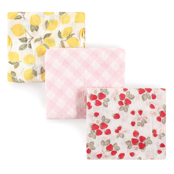Hudson Baby Cotton Muslin Swaddle Blankets, Strawberry Lemon