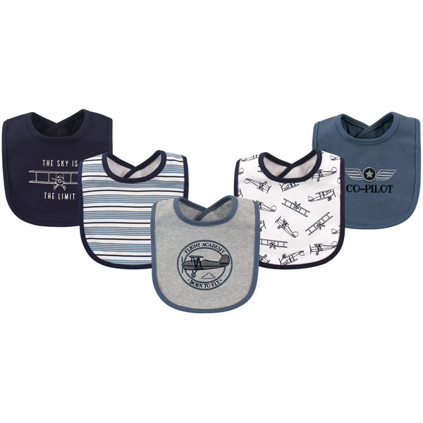 Hudson Baby Cotton Bibs, Aviation