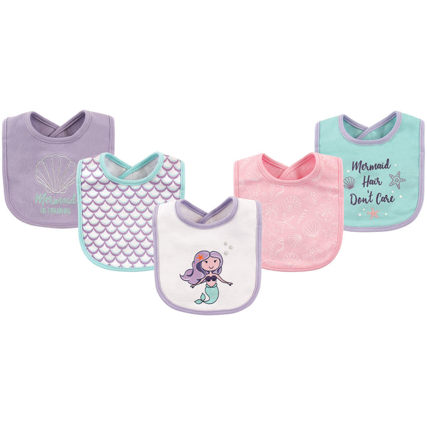 Hudson Baby Cotton Bibs, Mermaid