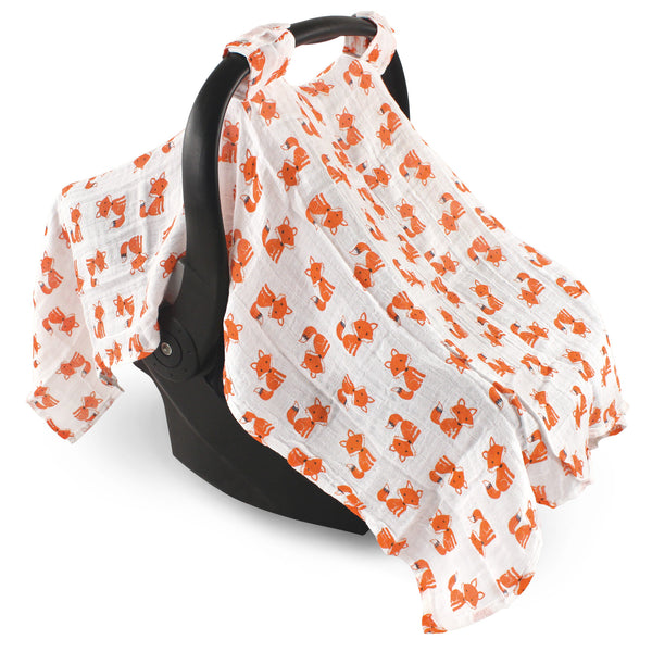Hudson Baby Muslin Cotton Car Seat and Stroller Canopy, Foxes