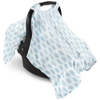 Hudson Baby Muslin Cotton Car Seat and Stroller Canopy, Blue Clouds