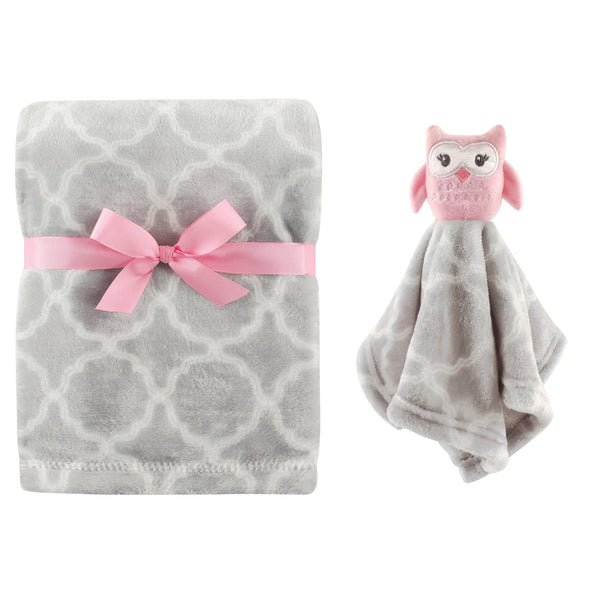 Hudson Baby Plush Blanket with Security Blanket, Gray Owl