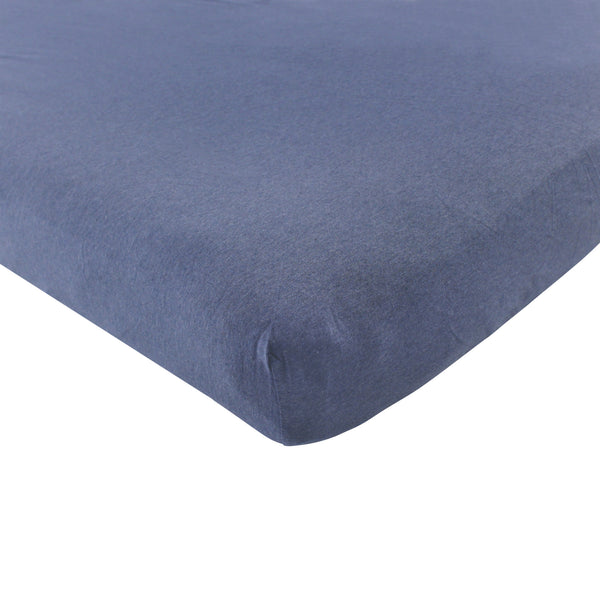 Hudson Baby Cotton Fitted Crib Sheet, Heather Navy