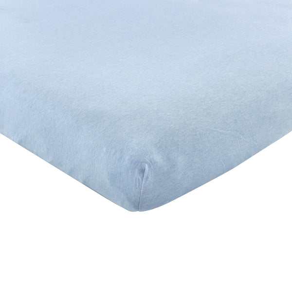 Hudson Baby Cotton Fitted Crib Sheet, Heather Light Blue