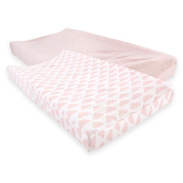 Hudson Baby Cotton Changing Pad Cover, Heather Pink Cloud