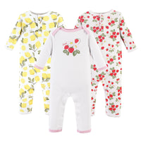 Hudson Baby Cotton Coveralls, Strawberry Lemon