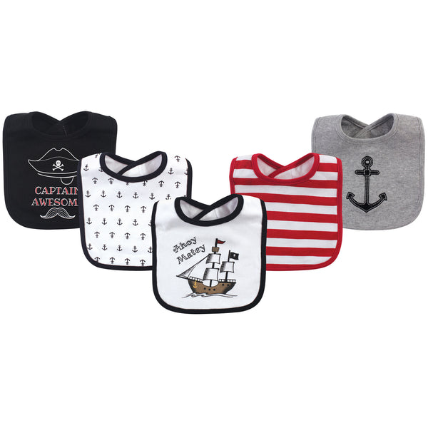 Hudson Baby Cotton Bibs, Pirate Ship