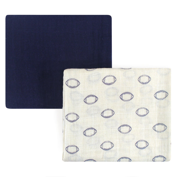 Hudson Baby Cotton Muslin Swaddle Blankets, Football