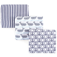 Hudson Baby Cotton Muslin Swaddle Blankets, Whale