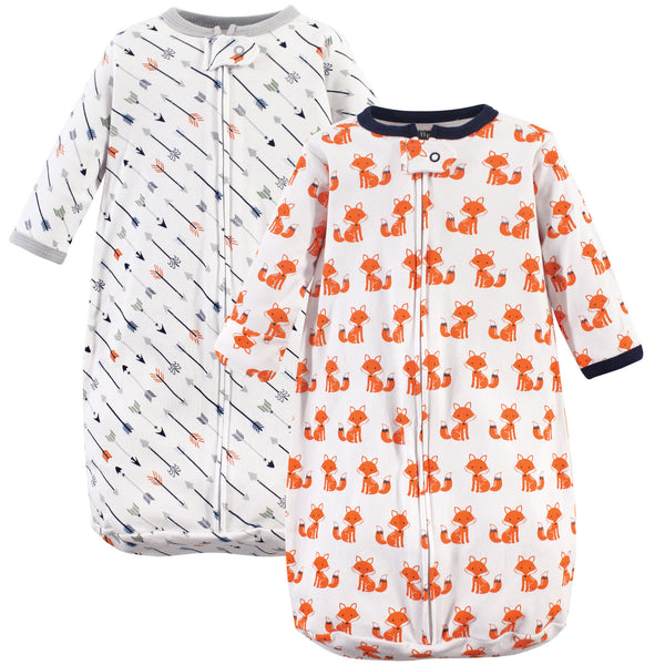 Hudson Baby Cotton Long-Sleeve Wearable Sleeping Bag, Sack, Blanket, Foxes