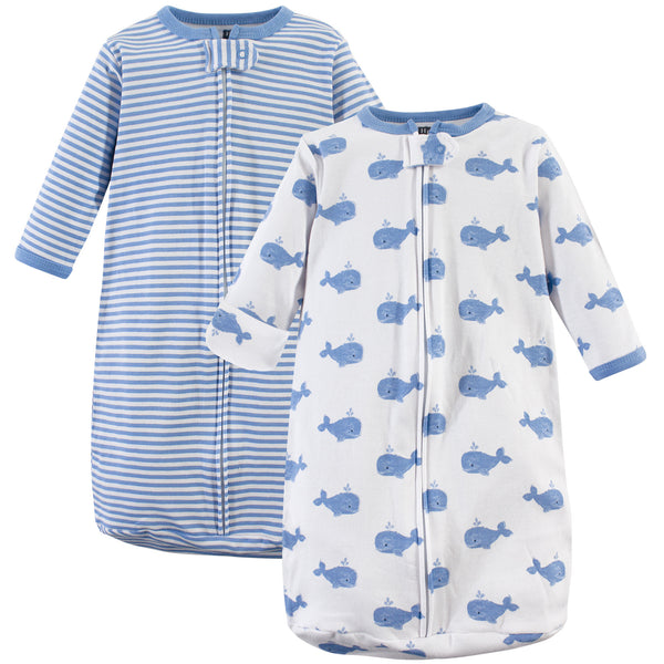 Hudson Baby Cotton Long-Sleeve Wearable Sleeping Bag, Sack, Blanket, Blue Whales