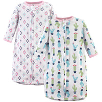 Hudson Baby Cotton Long-Sleeve Wearable Sleeping Bag, Sack, Blanket, Girl Cactus