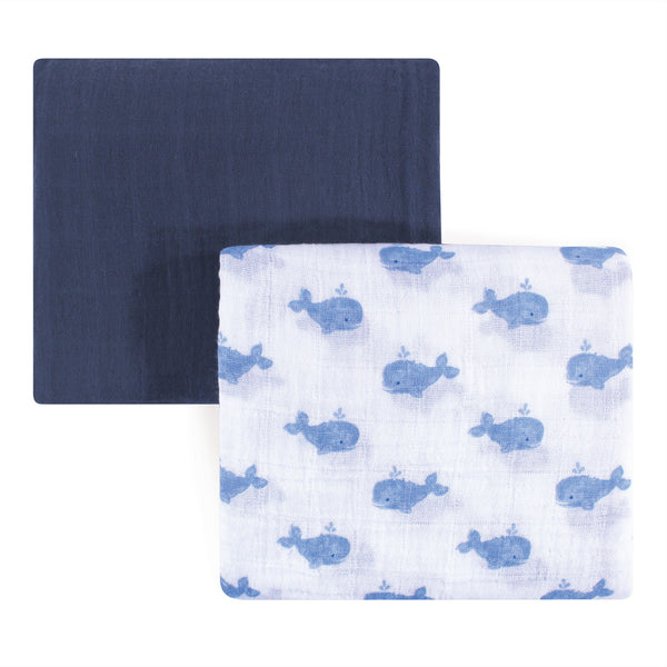 Hudson Baby Cotton Muslin Swaddle Blankets, Blue Painted Whale